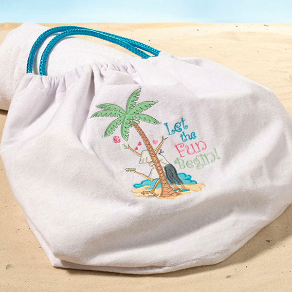 "Load image into Gallery viewer, ""Let The Fun Begin"" Beach Bag"