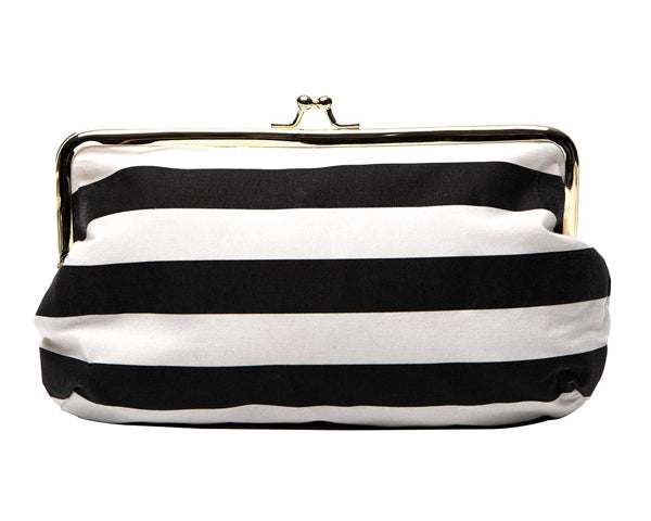 Black & White Stripe Emergency Kit Clutch