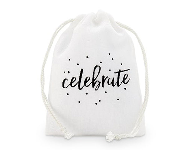 Celebrate Print Muslin Drawstring Favor Bag - Small (Set of 12)