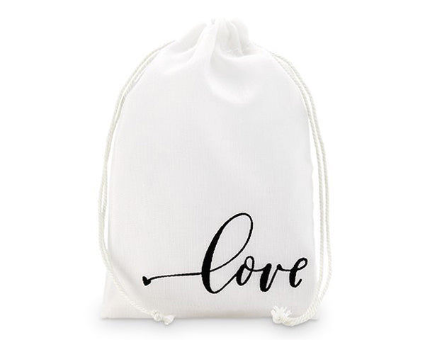 Love Print Muslin Drawstring Favor Bag - Medium (Set of 12)