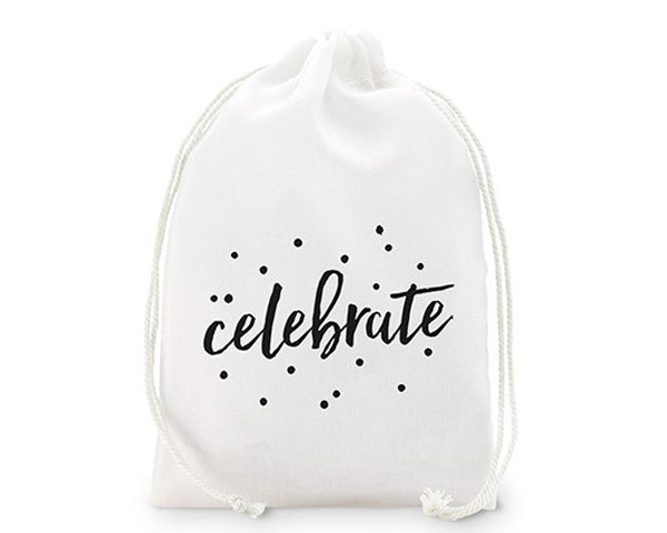 Celebrate Print Muslin Drawstring Favor Bag - Medium (Set of 12)