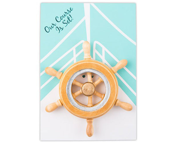 Our Course Is Set Boat Wheel Magnet (Set of 6)