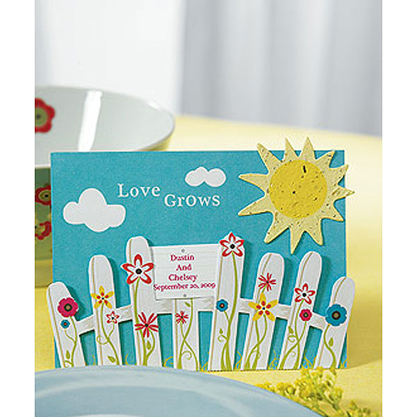 Love Grows Picket Fence with Seeded Paper Sun