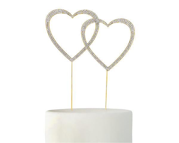 Crystal Rhinestone Double Heart Cake Topper (Available in Gold & Silver)
