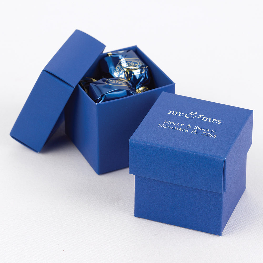 Personalized Royal Blue Two-Piece Favor Box (Set of 25)