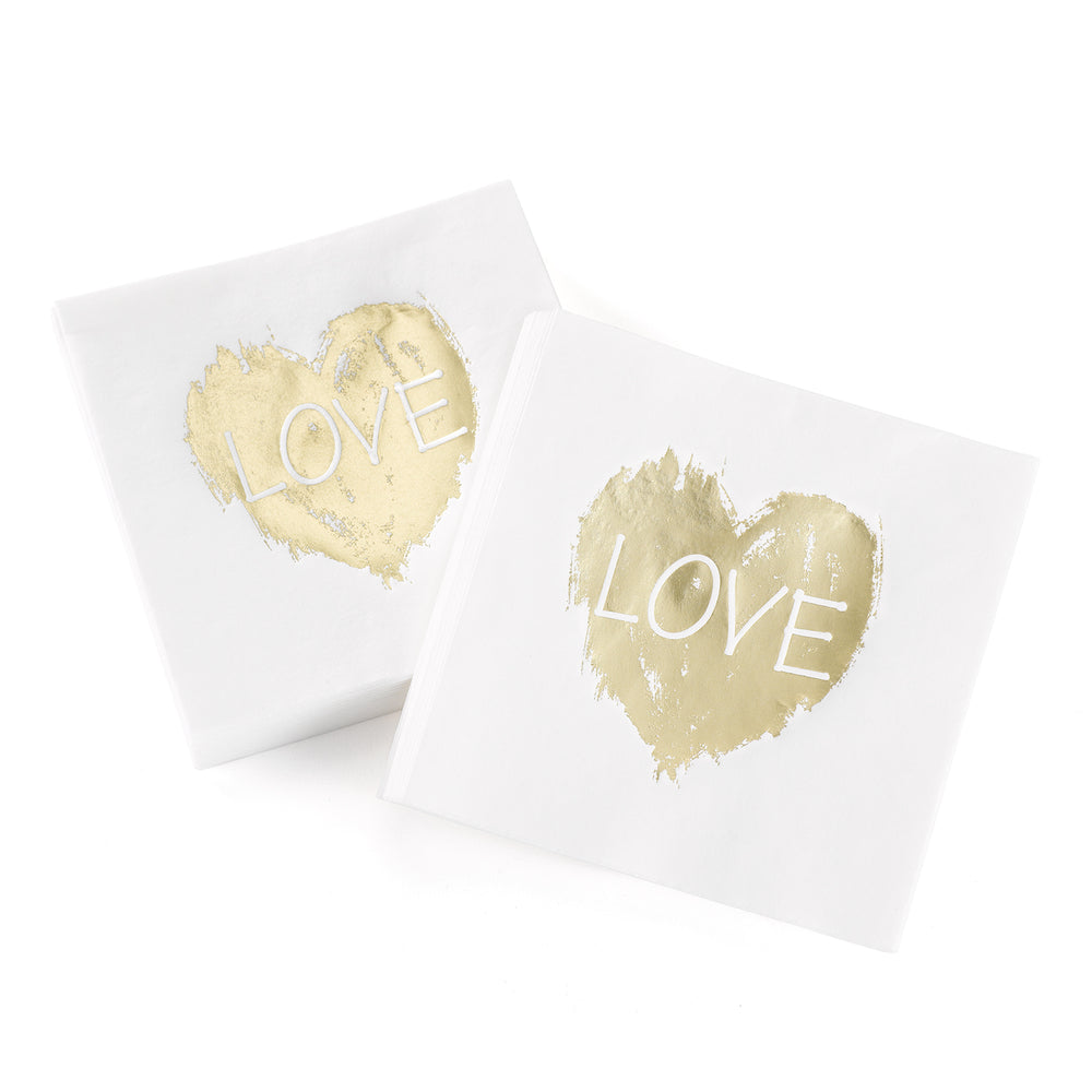 Load image into Gallery viewer, Brush of Love Gold Foil Napkins (50 Count)