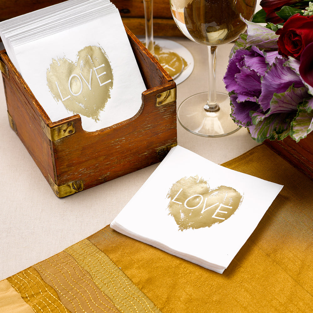 Brush of Love Gold Foil Napkins (50 Count)