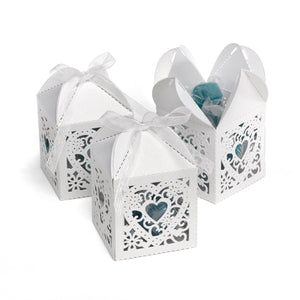White Ornate Heart Decorative Favor Box (Set of 25)