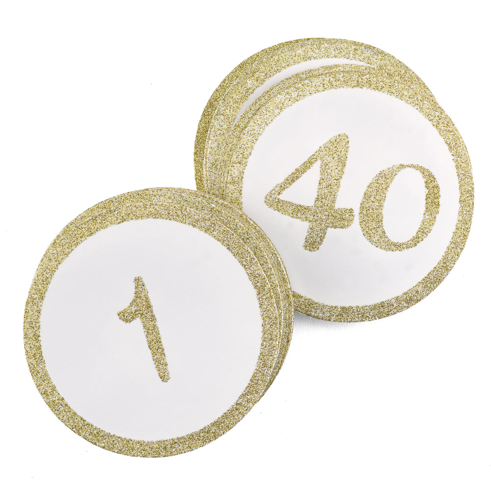 Gold Glitter Table Number Cards (1-40)
