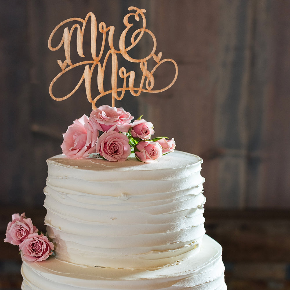 Mr. & Mrs. Wood Cake Topper