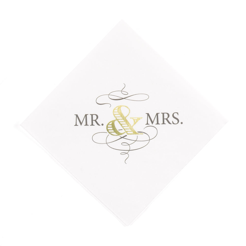 Mr. & Mrs. Classic Beverage Napkins (Set of 50)