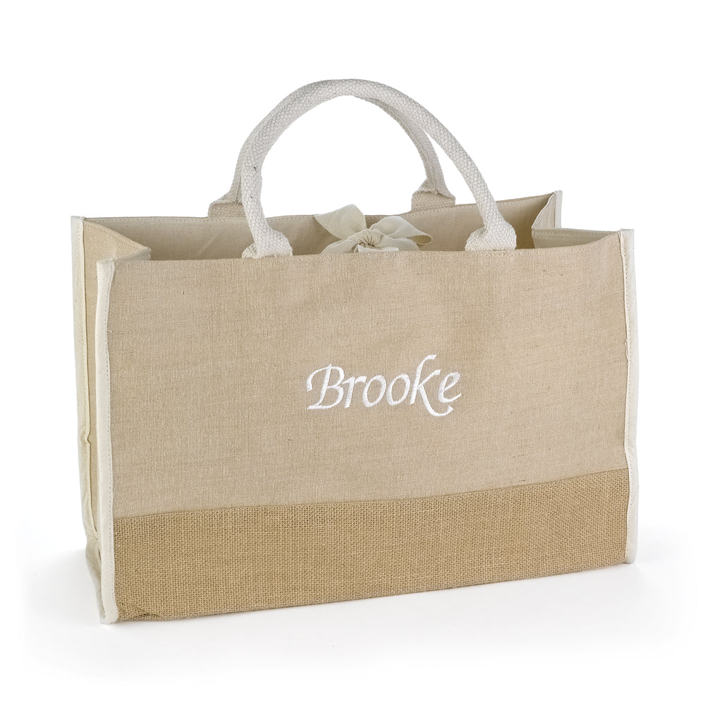 Load image into Gallery viewer, Personalized Large Natural Jute Tote Bag