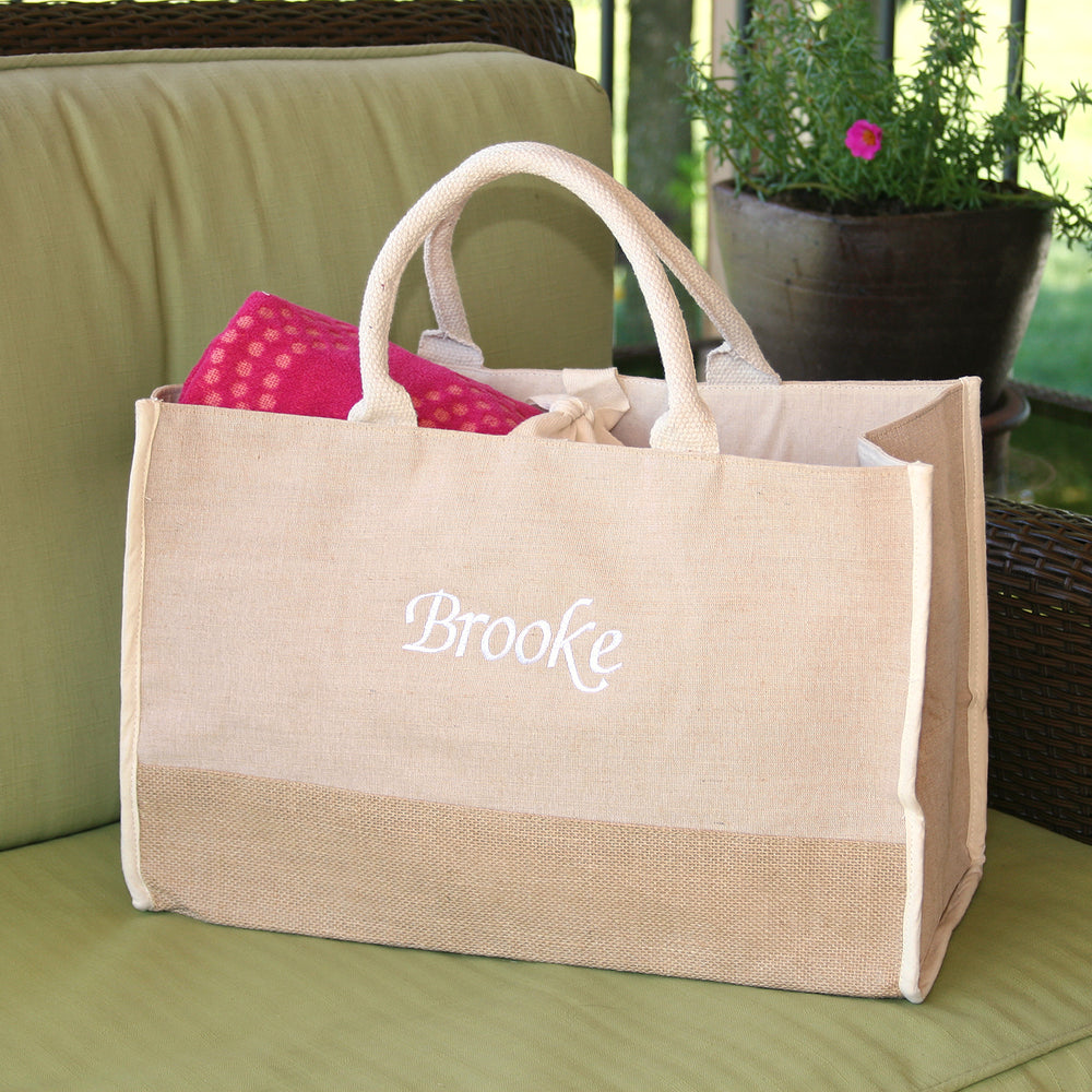 Personalized Large Natural Jute Tote Bag