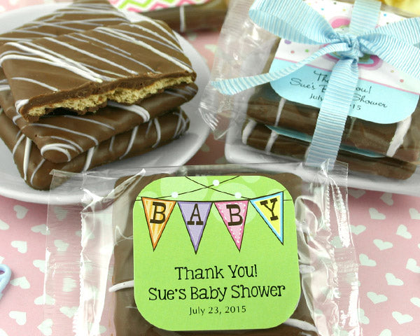 Personalized Baby Shower Chocolate Graham Cracker Favors | My Wedding Favors