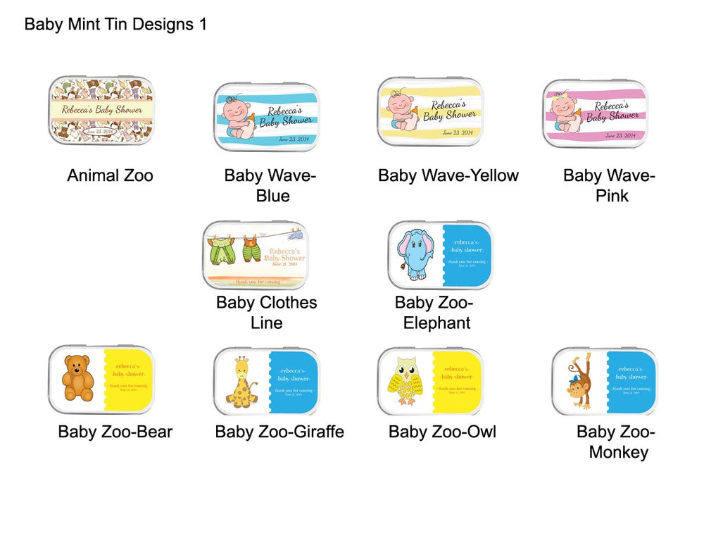 Baby Shower Personalized Mint Tins (Exclusive Designs) - Large