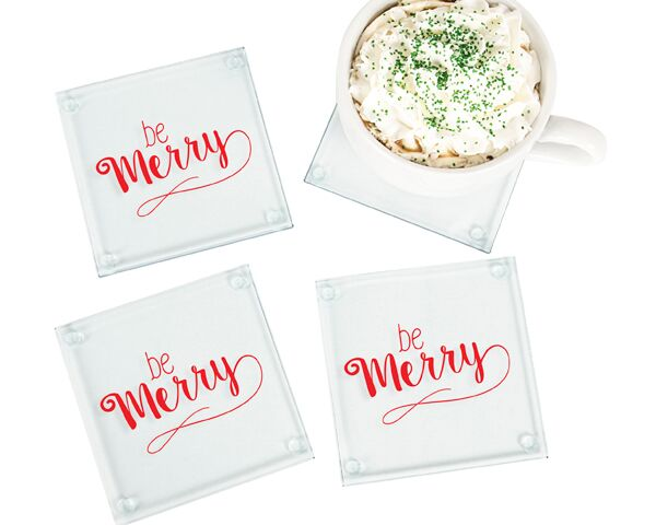 Be Merry Glass Coasters (Set of 4)