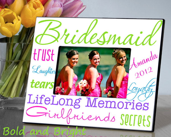 Personalized Kaleidoscope Bridesmaid Picture Frame (Multiple Color Options Available)