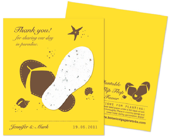 Personalized Wedding Favor Flip Flop Shape Plantable Wildflower Paper