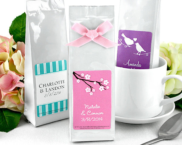 Personalized Exclusive Gourmet Coffee Favors  (Many Designs Available)