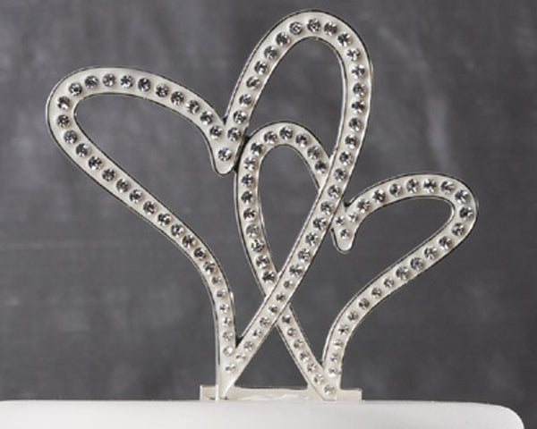 "Crystal Double Heart Wedding Cake Topper - Rhinestones 6""x4"""