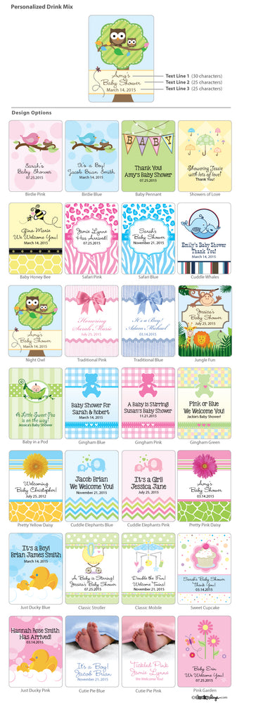 Personalized Baby Cocoa Favors (Many Designs Available)