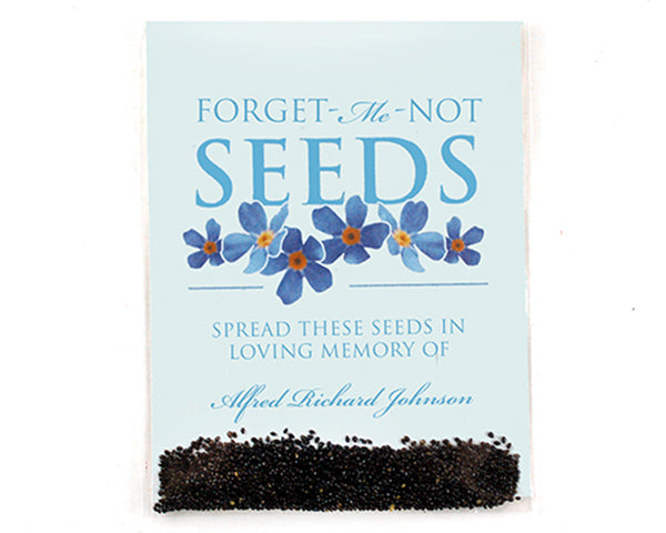 Personalized Forget-Me-Not Seed Packet Eco-Friendly Memorial Favors