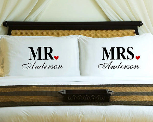 Personalized Mr. & Mrs. Couples Pillow Case Set