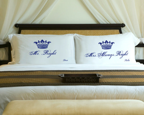 Personalized Royal Correctness Couples Pillow Case Set