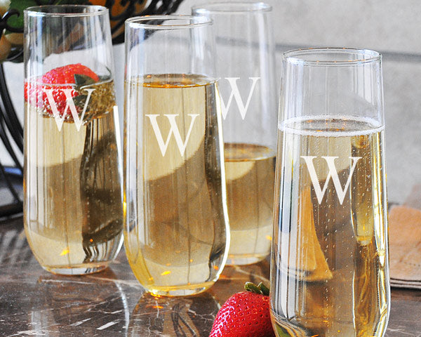 Stemless Monogram Champagne Flutes (Set of 4)