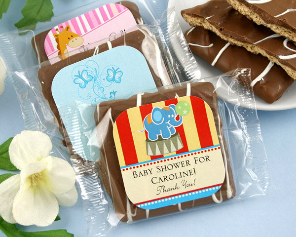 Personalized Chocolate Graham Crackers Baby Shower Favors | My Wedding Favors