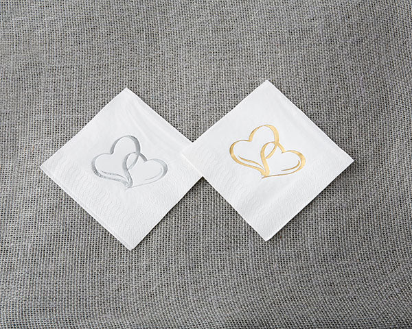 "Two Hearts 7"" Cocktail Napkins - 50 Count (Available in Gold and Silver)"