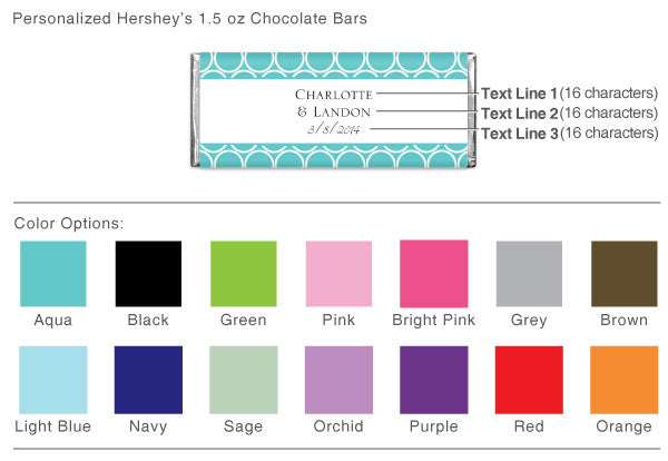 Personalized 1.5 oz. Hershey Chocolate Bars (Many Designs Available)