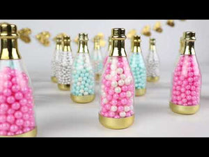 Load and play video in Gallery viewer, Personalized Holiday Gold Metallic Champagne Bottle Favor Container (Set of 12)