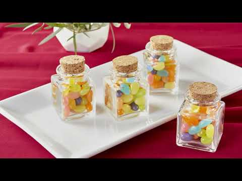 Load and play video in Gallery viewer, Personalized Wedding Petite Treat Square Glass Favor Jar (Set of 12)