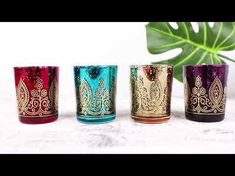 Load and play video in Gallery viewer, Indian Jewel Toned Henna Votives (Set of 4)