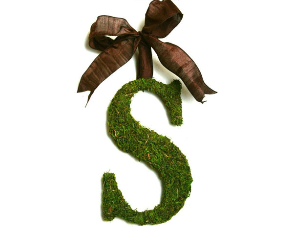 "Country French Moss Covered 24"" initial with Brown Silk Ribbon"