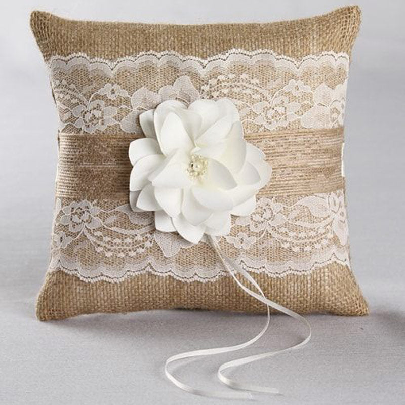 Rustic Lace Garden Ring Pillow (White or Ivory)