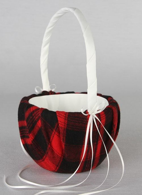 Aspen Plaid Flower Girl Basket (Multiple Colors Available)