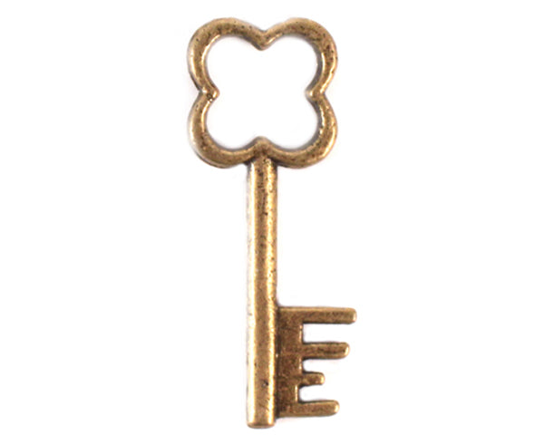 Antique Clover Key Charm (Set of 12)