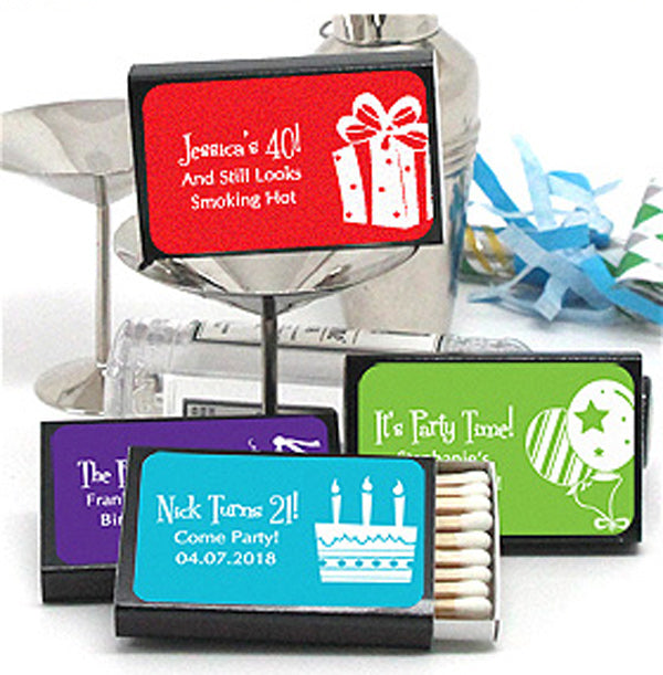 Personalized Silhouette Collection Black Matchboxes (Set of 50)