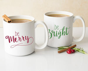 Merry & Bright 20 oz. Large Coffee Mugs (Set of 2)