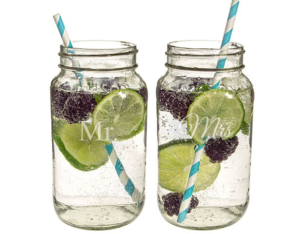 Mr. & Mrs. 26 oz. Mason Jar Set