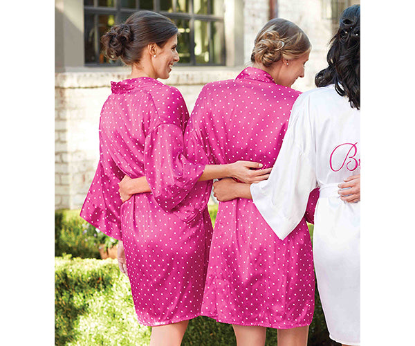 Fuchsia Satin Bridesmaids Robe (Personalization Available)