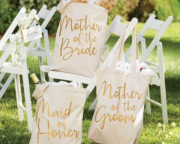 Bridal Party Gold Glitter Canvas Tote Bags (Personalization Available)