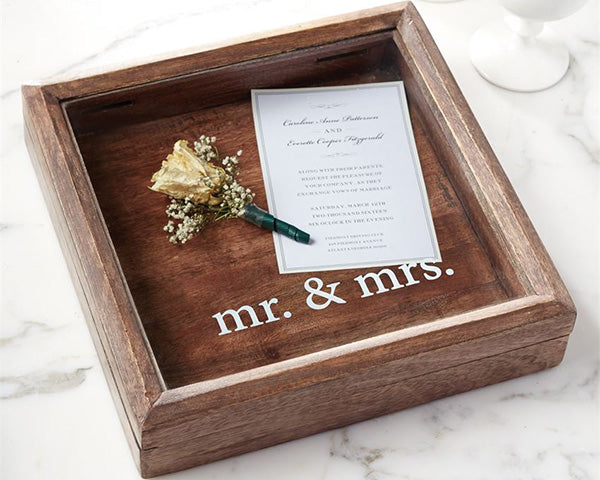 Mr. & Mrs. Keepsake Wooden Shadow Box