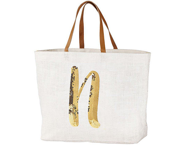 Load image into Gallery viewer, Initial Sequin Jute Tote