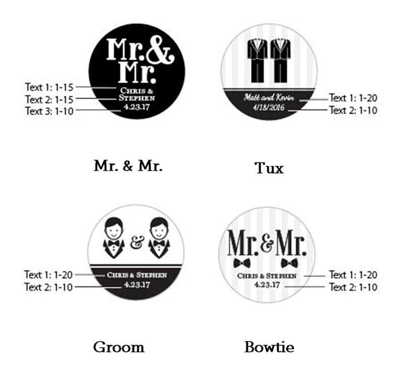 Personalized Mr. & Mr. Silver Round Candy Tin (Set of 12)