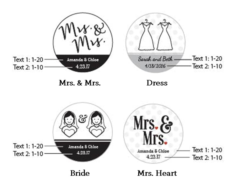 Personalized Mrs. & Mrs. Gold Round Candy Tins (Set of 12)