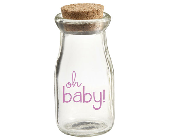 Oh Baby Girl Vintage Milk Bottle Favor Jar (Set of 12)