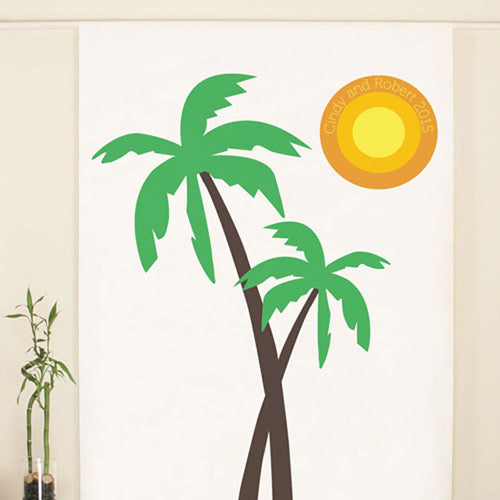 Personalized Palm Trees Photo Backdrop Banner